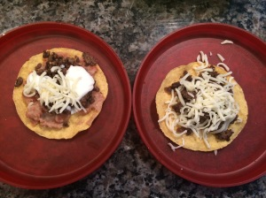 The tostada on the left belongs to my daughter (she used 4 toppings), the tostada to the right is my son's (he used 2 toppings)